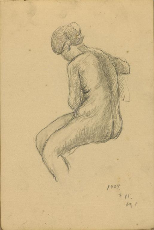 坐姿裸女速寫(68)-SB07:27.4.15